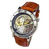 Gute Steampunk Men's Automatic Mechanical Watch Brown PU Watchband See Through Roman Dial Gold Tone