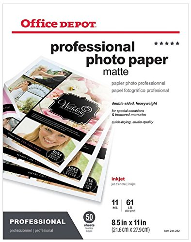 Office Depot Professional Photo Paper, Matte, Double Sided, 8 1/2in. x 11in., Pack Of 50 Sheets, 124208
