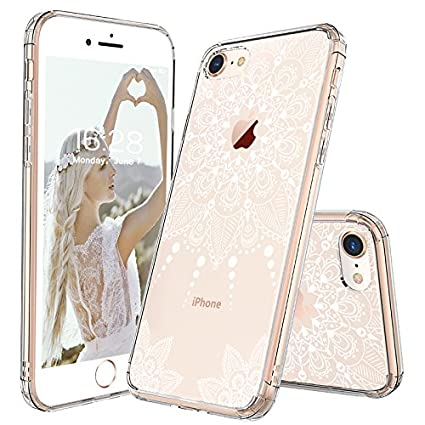 classic fit bd1ad 5f083 iPhone 8 Case, iPhone 8 Clear Case, MOSNOVO White Henna Mandala Floral Lace  Clear Design Printed Hard with TPU Bumper Protective Back Case Cover for ...