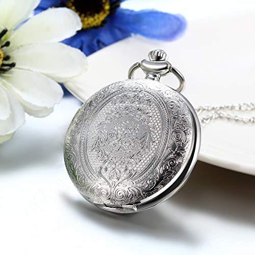 Fickur vintage silver blommor fall kvarts fickur lång tröja halsband 32 tum kedja