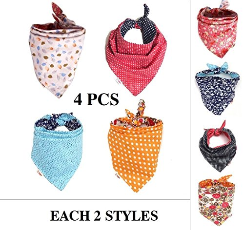 FUNPET 4 Pack Dog Bandana Triangle Bibs Bright Coloured Scarfs Accessories for (Pet Bandana)