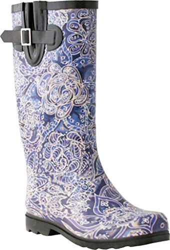 Nomad Womens Puddles Rain Boot, Chef at the Farmers Market Blue Indigo