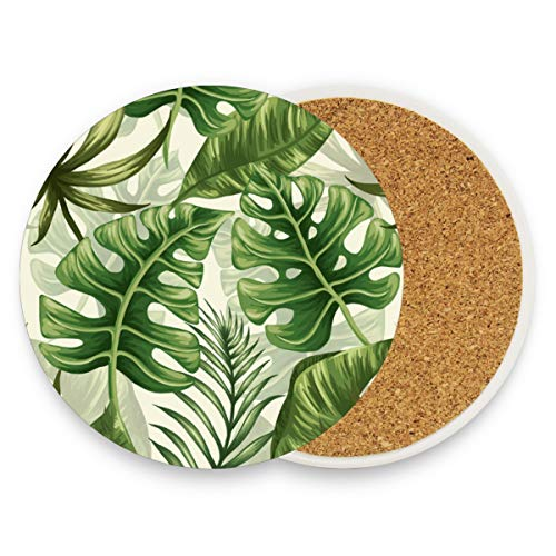Ceramic Coaster Set of 2 Absorbent Coaster with Protective Cork Base Palm Tree Green Leaves Coasters for Drinks Coffee Mug Glass Cup Place Mats Home Decor Style ()