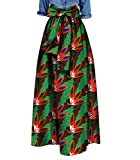 Highisa Women Waist Bowtie African Print Big Pendulum Casual Long Skirt 2 L