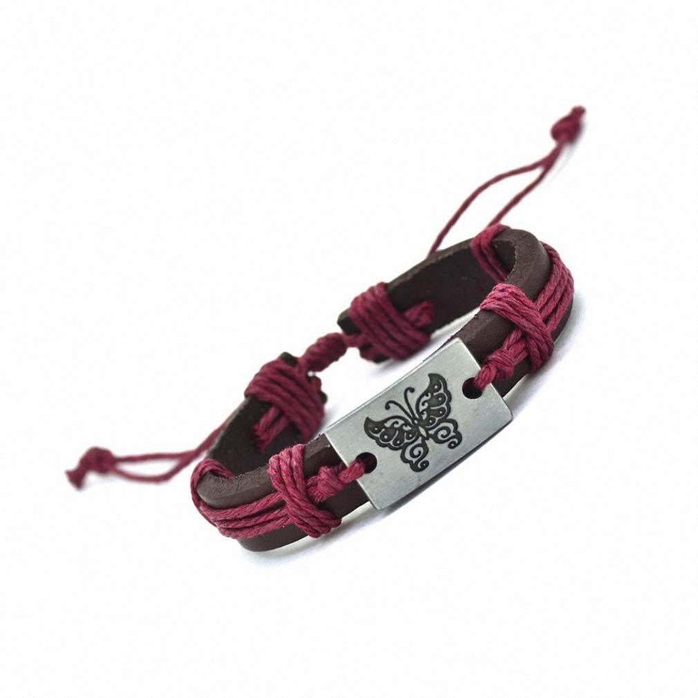 Hynsin Womens Mens Bracelet Butterfly Leather Charm Bracelet Cuff Braided Wrap Bracelet Bangles for Women Men Gifts