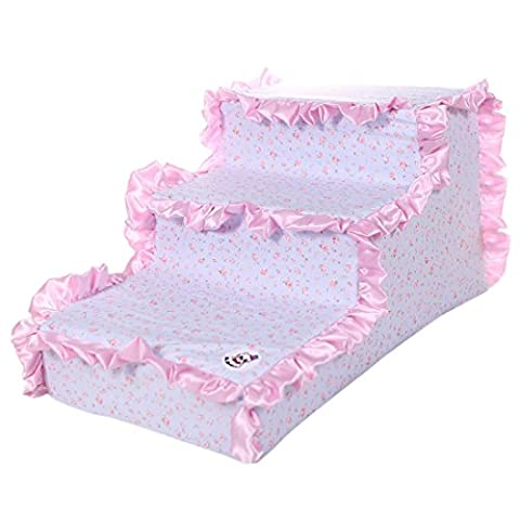 Qianle 3 Steps Pet Stairs Indoor Portable Climb Ramp Ladder for Dogs Cats Pink (3 Step Padded Dog Stairs)