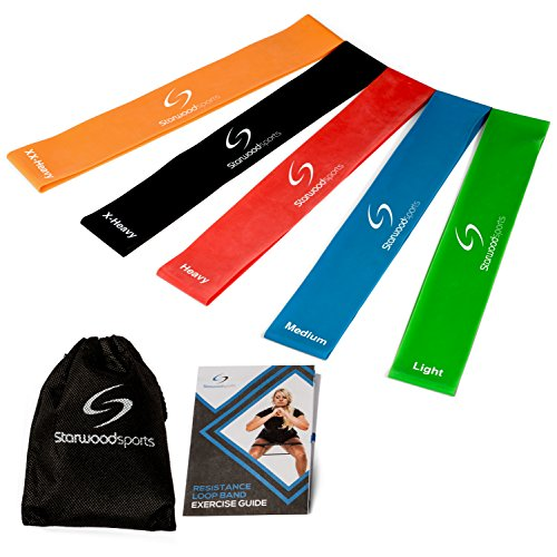 Starwood Sports Exercise Resistance Loop Bands Set … (Set of 5 - Light, Medium, Heavy, X Heavy, XX Heavy)