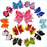 LCLHB 4.5''-5'' Semi-big Hair Bows Clips for Girls Teens Child Pack of 12