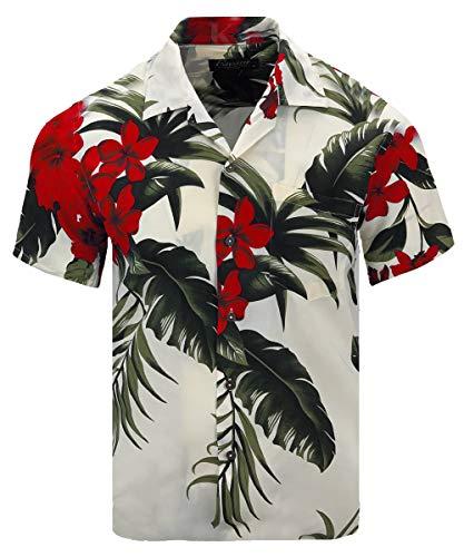 Hawaiian Luau Pictures - Men's Hawaiian Aloha Tropical Luau Beach Floral Print Shirt (Large, Cream/Red)