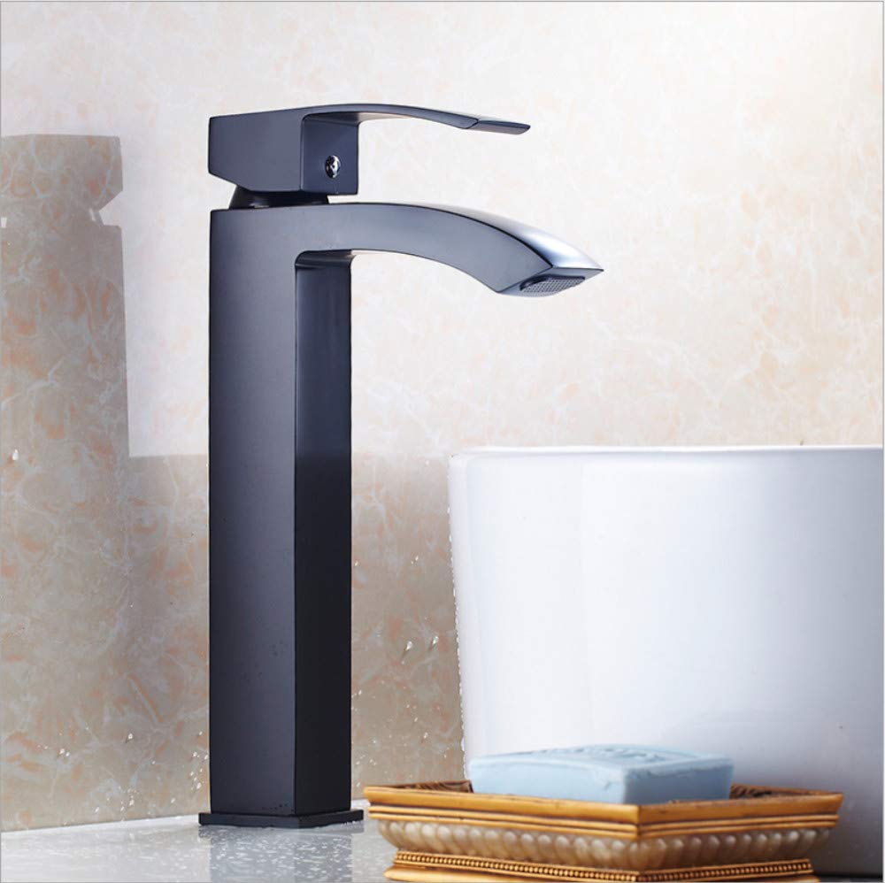 Jukunlun Basin Faucets Brass Black Waterfall Bathroom Sink Faucet Big Square Spout Single Handle Contemporary Deck Mixer Water Tap