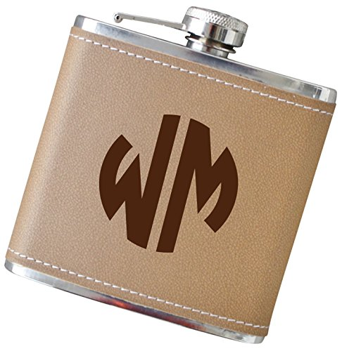 6 Ounce Glassware (Two or Three Initial Monogram Flask for Men or Women, 6 oz Stainless Steel Flask in Your Choice of Colors -)