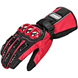 ILM Alloy Steel Motorcycle Riding Gloves Warm Waterproof Windproof for Winter Use (XXL, RED(WINTER))