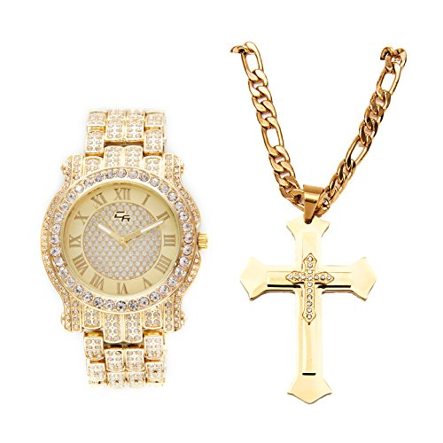 Best Hip Hop Rappers Ice'd Out Stainless Steel Gold Cross and Chain with Luxurious Men's Metal Bling Watch. Watch dial is an Easy Reader with Elegant Roman Numerals on Trim - L0501-LR1024C Cross Set