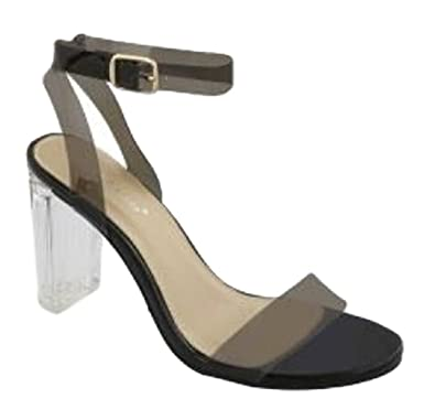 f3b33c7fef4253 Top Moda Women s Alma-70 Lucite Clear Strappy Block Chunky High Heel Open  Peep Toe