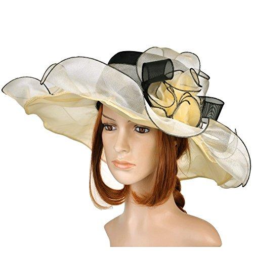 Vbiger Kentucky Derby Hats Church Hat Organza Tea Party Wedding Hat (Creamy-White)