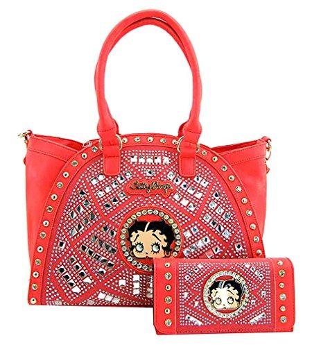 Betty Boop Premium Purse Wallet Set, Mirror Rhinestones, NEW (Coral)