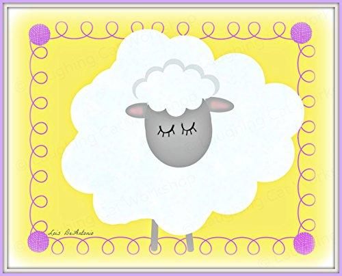 (Cute sheep art print Whimsical Lamb nursery decor baby boy girl nursery art Toddlers room decor Sheep art for children Yellow kids room wall art Children's Farm animal art)
