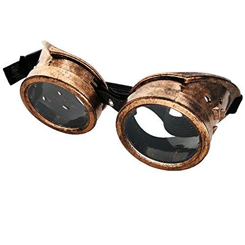 CCUFO Vintage Gold Steampunk Victorian Goggles Retro Welding Glasses Cyber Punk Costume - Eyewear Steampunk
