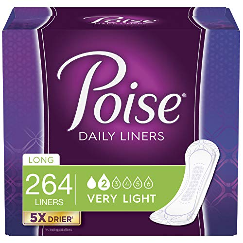 Poise Daily Incontinence Panty Liners, Very Light Absorbency, Long, 264 Count (6 Packs of 44)