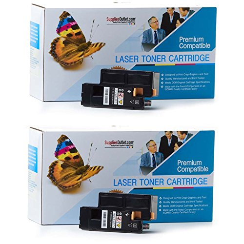 SuppliesOutlet Dell 331-0778 Black Compatible Toner Cartridge 2-Pack (2 Black) for Color Laser 1250C, Color Laser 1350CNW, Color Laser 1355CN