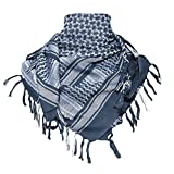 TACVASEN Men's Cotton Military Shemagh Head Neck Tactical Scarf Arab Wrap Blue