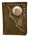 Custom Praying Cowboy Church Tri-Fold Wallet Hair on Hide Brown