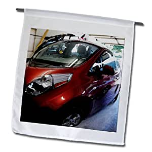 Jos Fauxtographee Cars - A car called The Leaf in a garage in cherry red - 18 x 27 inch Garden Flag (fl_64911_2)