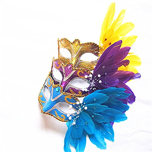 Sweenaly Pack of 3 Masquerade Masks Party Masks Halloween Mask Feather Mask -