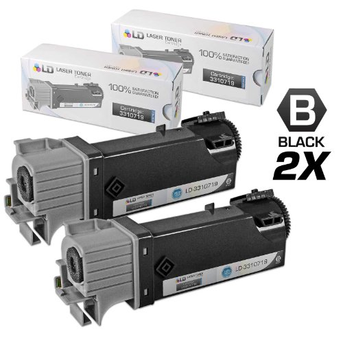 LD Compatible Dell 331-0719 Set of 2 Black Laser Toner Cartridges for use in Dell 2150cdn, 2150cn, 2155cdn & 2155cn Printers by LD Products