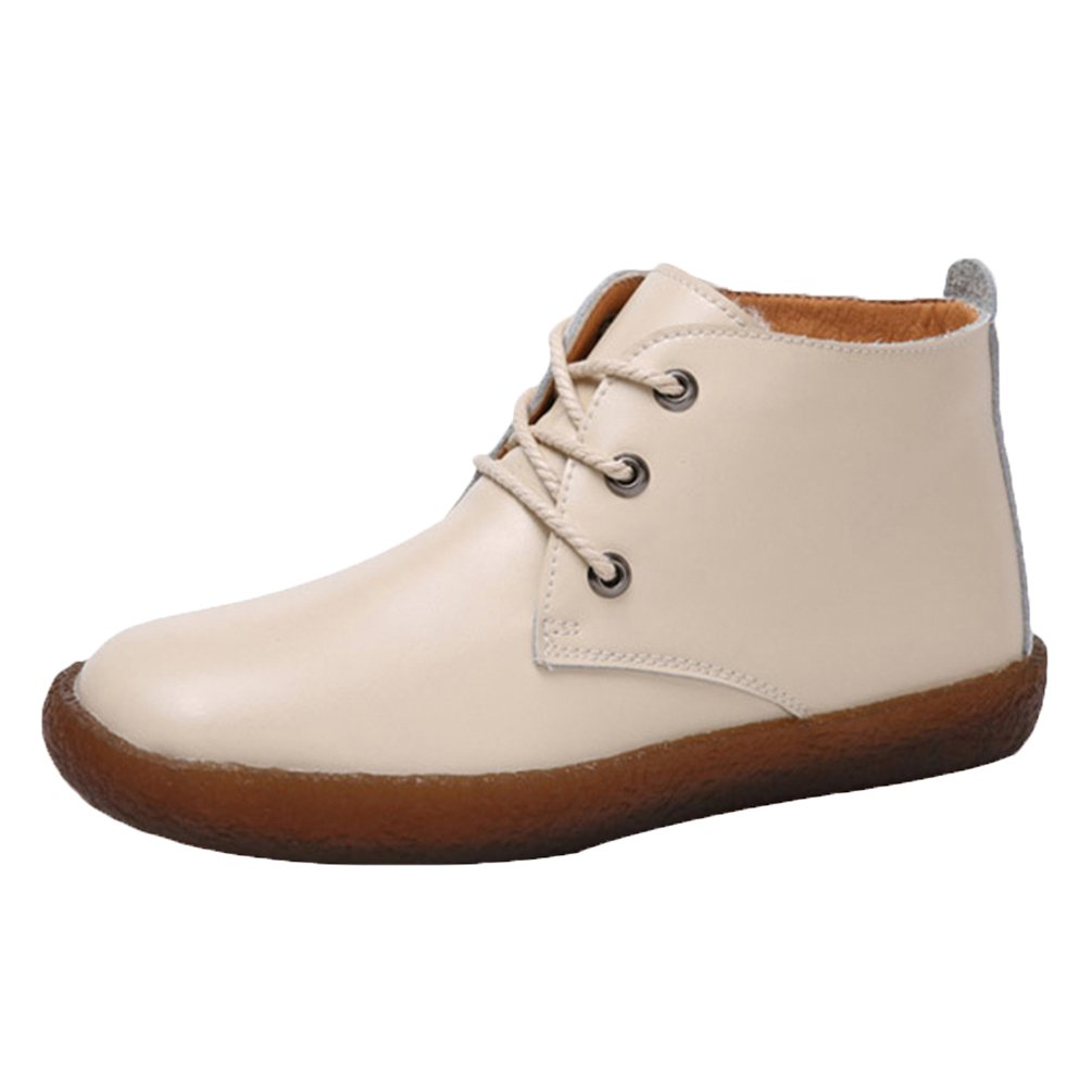 Yiiquan Femme Loisirs B07FLST37B Low-Top Cuir Loisirs PU Doux Antidérapant Bateau 3 Chaussures Flats Lacets Chaussures Beige # 3 3871400 - fast-weightloss-diet.space