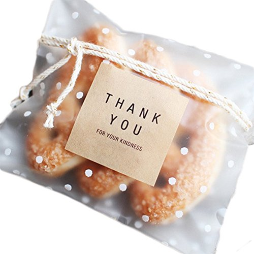 Self Adhesive Bag Clear Gift Dot Pattern for Packaging Candy Cakes Cookies Biscuit 10 x 10 cm Pack of (Dots Cookie Gift)