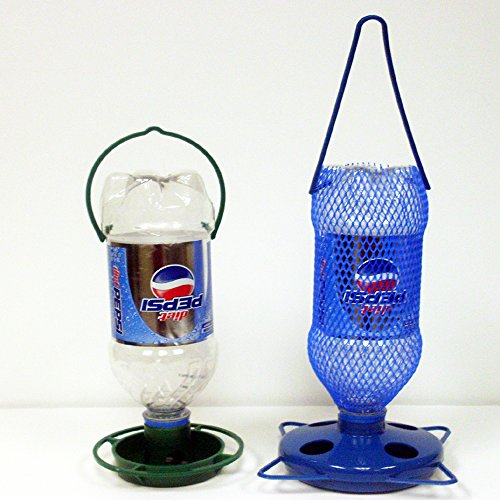 Bird Feeder Bottle (Gadjit Soda Bottle Bird Feeding Starter Kit Includes 1 Soda Bottle Hanging Feeder and 1 Watering Well. Just Add 2 Empty Soda Bottles, Birdseed, and Water, Feed Wild Birds Promote Plastic Bottle Re-use)