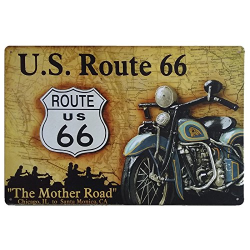 MARQUISE & LOREAN Ruta 66 Decoración Pared   Placa Decorativa Vintage Route   Cartel Chapa Póster (Road Map, 20 x 30 cm)
