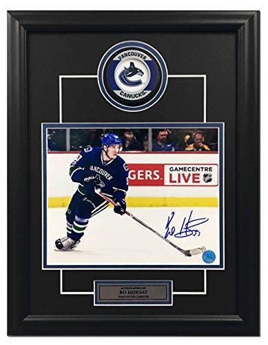 AJ Sports World Bo Horvat Vancouver Canucks Autographed Photo 14x18 Hockey Puck Frame ()