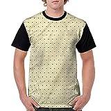 Round Neck T-Shirt,Polka Dots and Bold Lines Fashion Personality Customization