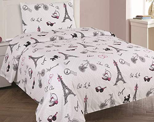 (Golden Linens Full Size 4 Pieces Printed Sheet Set with Pillowcase Multi colors White Black Pink Paris Eiffel Tower Design Girls / Kids/ Teens# Full Sheet)