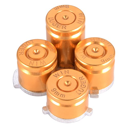 eXtremeRate Gold Metal Alumium Alloy Bullet ABXY Mod Buttons Replacement Parts for Microsoft Xbox One Controller (Bullets Xbox Controller Buttons)