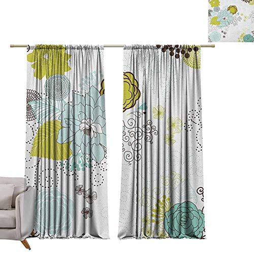 Children Blackout Curtain Floral,Pastel Pattern Romantic Ornament Components Petals Leaves Swirls, Baby Blue Yellow Green Mint W108 x L84 Living Room Curtain