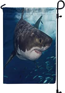 GANKE Shark Garden Flag, Great White Shark Animal Animals Australia 12x18 Inch Outdoor Decorative Seasonal Flags Double Sided Weather Resistant for Garden Yard House Decorations,Great White Shark