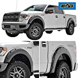 EAG Styleside Bed Fender Flares 4pcs Black Textured Pocket Riveted Bolt on Style Except Raptor for 09-14 Ford F150
