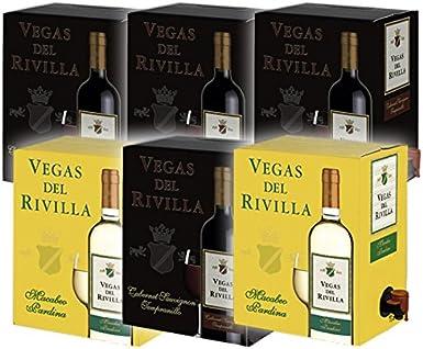 Bag in Box Vino 4 Cajas de 3 litros de Vino tinto y 2 caja de 3 litros de vino blanco Extremeño de Vegas del Rivilla: Amazon.es: Alimentación y bebidas