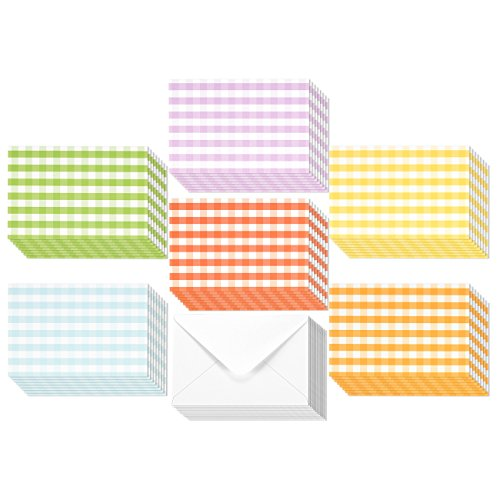 48 Pack All Occasion Assorted Blank Note Cards Greeting Cards Bulk Box Set - 6 Colorful Gingham Designs - Blank on the Inside Notecards with Envelopes Included - 4 x 6 Inches