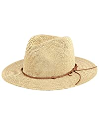 Aieoe Womens Foldable Handmade Straw Hat Wide Brim Summer Beach Cap