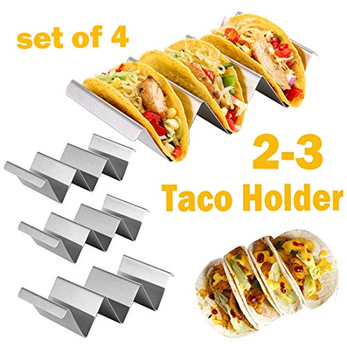 Taco Holder, Taco Rack Holders ,Good Taco Shell Holder Stand on Table with Handle, Hold 2 or 3 Hard or Soft Shell Tacos, Safe for Baking taco Truck Tray- Set - Shell Handle
