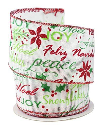 Feliz Navidad Holiday Sayings Linen Wired Ribbon #40-2.5