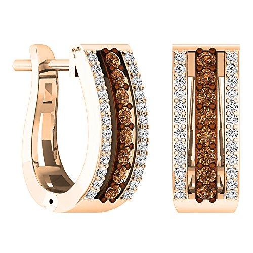 Dazzlingrock Collection 0.45 Carat (ctw) 14K Round Champagne & White Diamond Ladies Huggies Hoop Earrings 1/2 CT, Rose Gold ()