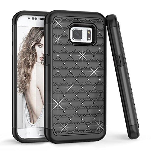 Samsung Galaxy S7 Case, Galaxy S VII Case For Girls, TILL(TM) Studded Rhinestone Crystal Bling Shock Absorbing Hybrid Dual Defender Rugged Slim Case Cover For Samsung Galaxy S7 S VII G930 GS7 [Black]