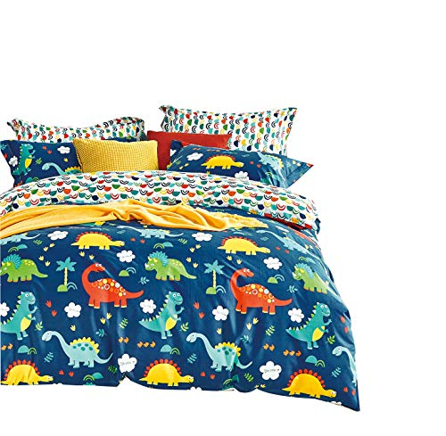 Cliab Dinosaur Bedding Blue Queen Size for Kids Boys 100% Cotton 7 Pieces ()