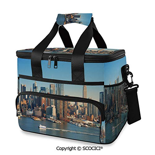 SCOCICI Large Soft Cooler Insulated Picnic Bag New York City Skyline over River Empire State Building Boats and Skyscrapers for Grocery, Camping, Car