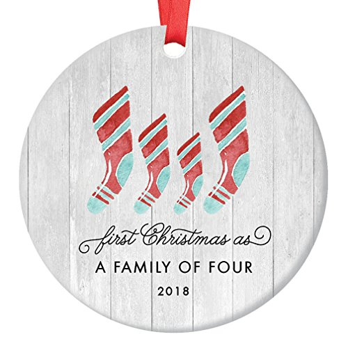 First Christmas As Family of Four Ornament 2018, Farmhouse Woodsy Two Kids New Parents Xmas Present Mom Dad Mother Father Ceramic Porcelain Keepsake 3